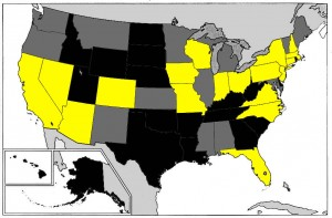 States polled in gold.