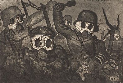 Stormtroops Advancing Under Gas by Otto Dix. Image from Wikipedia.