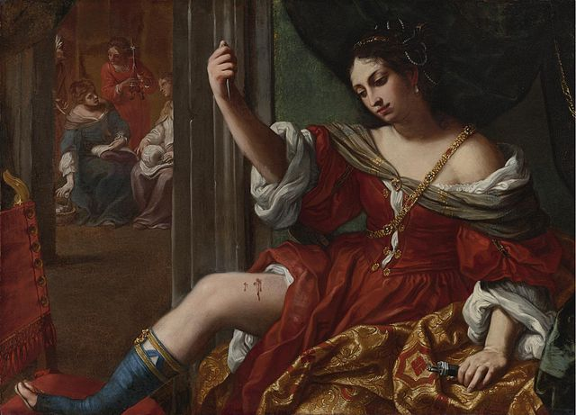 """Elisabetta Sirani - Portia wounding her thigh"" by Elisabetta Sirani - Sotheby's. Licensed under Public Domain via Wikimedia Commons - https://commons.wikimedia.org/wiki/File:Elisabetta_Sirani_-_Portia_wounding_her_thigh.jpg#/media/File:Elisabetta_Sirani_-_Portia_wounding_her_thigh.jpg"