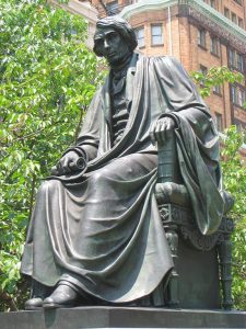 Roger B. Taney statue, Mount Vernon Place, Baltimore, Maryland, USA. Sculptor William Henry Rinehart.