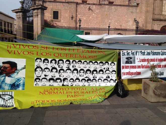 Normalista's radical banners.
