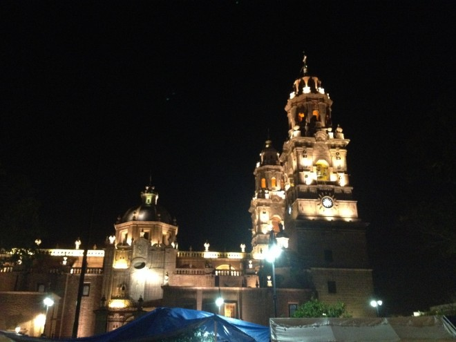 Morelia's cathedral by night.