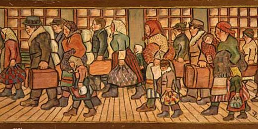 """Immigrants,"" 1930, Minnesota Historical Society, Painter: Peter Wedin (1894-1980). Creative Commons Attribution-SharAlike 2.0 Generic License."