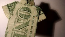 One-dollar bill shaped as a shirt