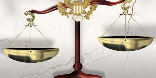 "A representation of the ""scales of justice."""