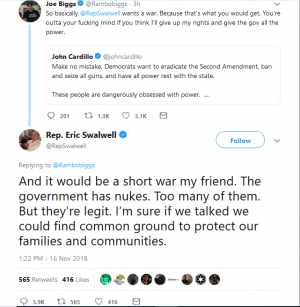 """California Congressman gives """"nukes"""" as reason that any American civil war would be a short one"""