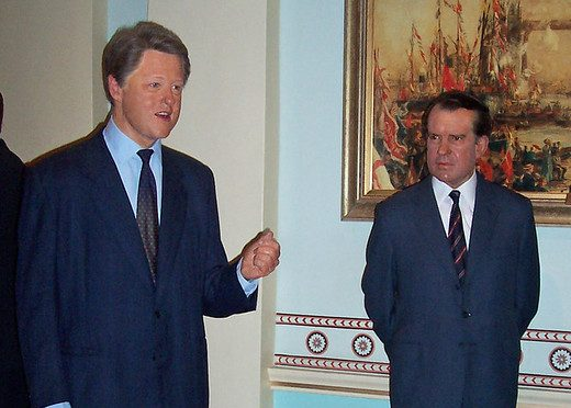 Bill Clinton and Richard Nixon at Madame Toussaud's in London