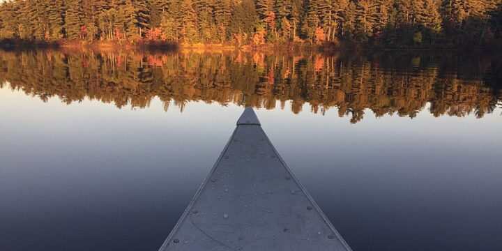 Canoeing on Spruce Pond in Bear Brook State Park