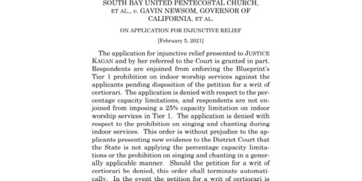 Wednesday Writs: South Bay United Pentecostal Church v Gavin Newsom