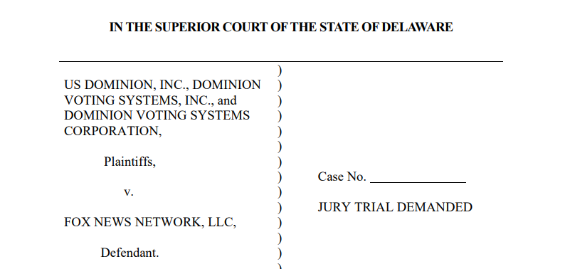 Dominion sues Fox News
